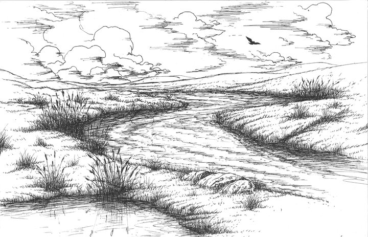 Line Drawing River : Drawings aarongilbreath s