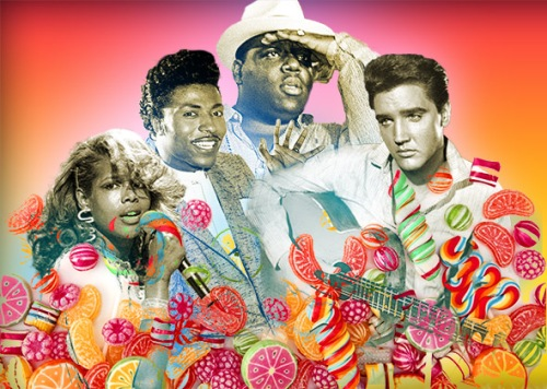 Singer Kelis, left to right, Little Richard (Richard Penniman; American rapper the Notorious B.I.G. aka Christopher Wallace, aka Biggie Smalls; American singer and actor Elvis Presley.